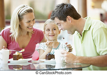 almoço, centro comercial, junto, família, tendo