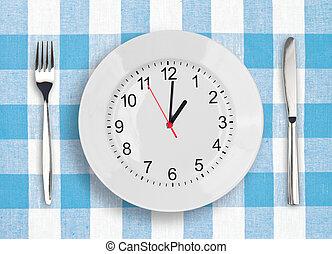 almoço, conceito, tempo