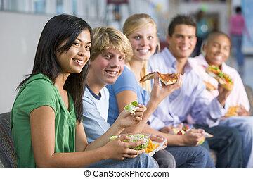 almoço, desfrutando, adolescentes, junto