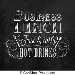 almoço, giz, negócio