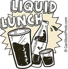 almoço líquido, álcool, esboço