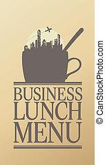 almoço, menu., negócio