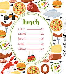 almoço, modelo, menu