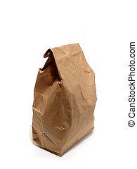 almoço, saco papel, marrom