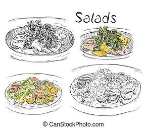 almoço, saladas, desenhado, menu, mão