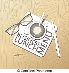 almoço, template., negócio, menu
