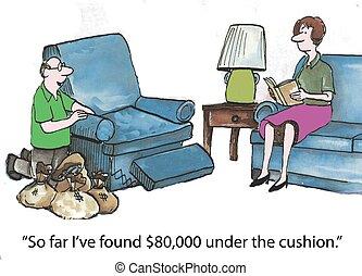 almofadas, dinheiro, sob