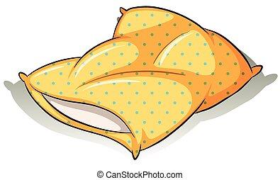 almohada, amarillo