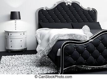almohadas, cubierta, moderno, cama, lujoso, interior., ...