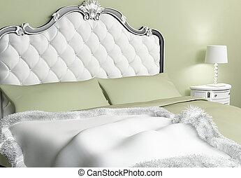 almohadas, hotel, cama, lujoso, cubrecama, interior
