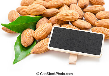 Almond and blank wooden tag
