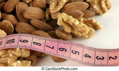 Almond and Walnut and Measurement Macro View