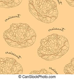 almond croissant hand draw seamless pattern vector