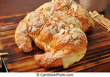 Almond croissants with custard filling - Two almond...