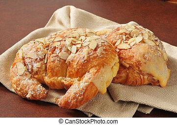 Almond custard croissants