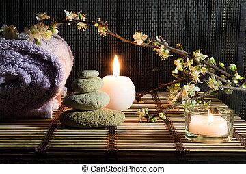 almond flowers with zen stones