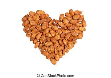 almond heart nut fruit organic healthy vegan white background