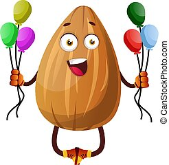 Almond holding colorful balloons, illustration, vector on white background.