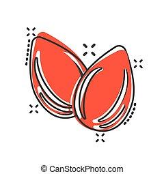 Almond icon in comic style. Bean vector cartoon illustration...
