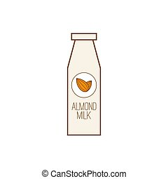 Almond icon nut. - Vector icon with almond nuts and milk.