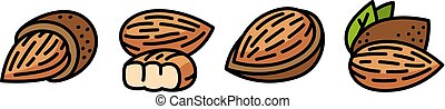 Almond icons set, outline style - Almond icons set. Outline...