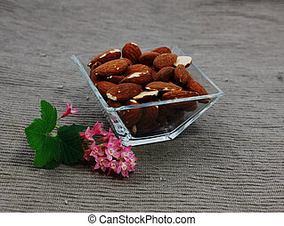 almond in a glass bowl