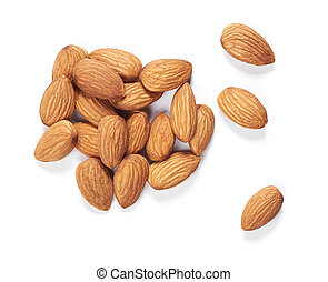 Almond isolated top view. Nuts on white background
