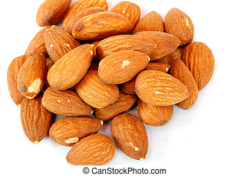 Almond macro isolated in white background