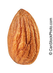 Almond macro shot isolated on a white background with clipping path