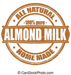 Almond milk - Stamp with text almond milk inside, vector...