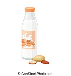 Almond Milk in Bottle with Nuts Lying Beside it Vector Illustration