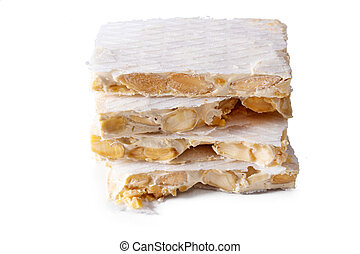 almond nougat isolated on white background
