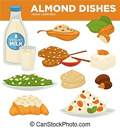 Almond nut dishes vector food, drink and dessert - Almond ...