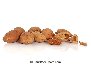 Almond nut group whole in shells with one cracked open, isolated over white background with reflection.