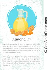 Almond Nuts Hair Oil in Glass Postcard Vector