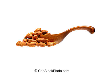 Almond nuts in the wooden spoon, isolated on white background.