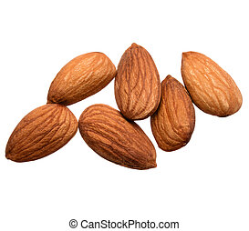 almond nuts isolated on white background close up - almond...