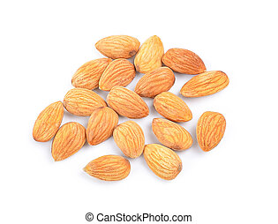 almond nuts isolated on white background, Top view