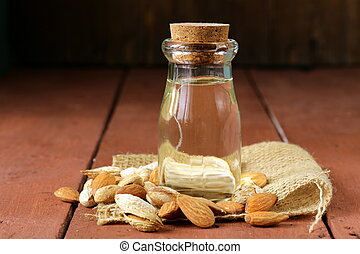 almond oil in a glass bottle