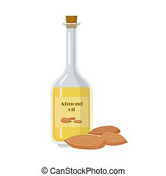 Almond oil in bottle with organic nuts.