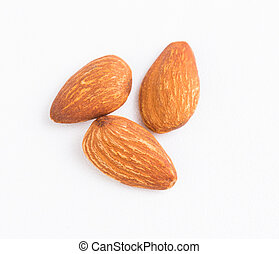 Almond on white background