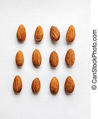 Almond on white background.