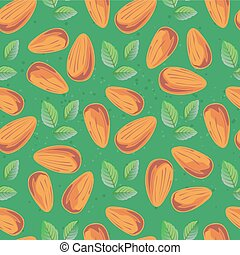 almond seamless-03 - Almond and mint leaves. Organic food ...