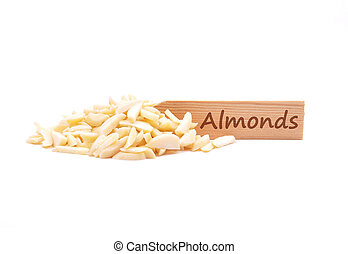Almond slivers on plate