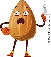 Almond with a injection in his hand, illustration, vector on white background.