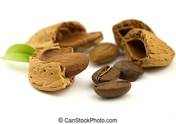 Almond with coffee beans