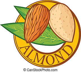 almond with leaves label (almond nut symbol, almond sign)