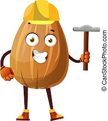 Almond with yellow helmet on his head and tool in his hand, illustration, vector on white background.