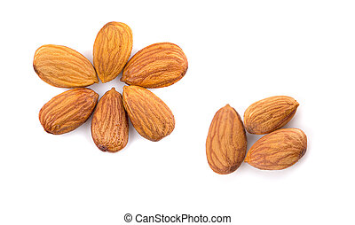 Almonds an isolated on white background, top view