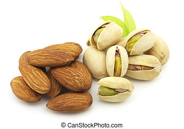 Almonds and pistachio on a white background